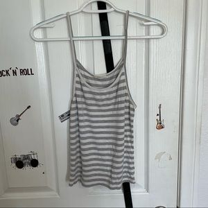 Poetry Gray and White Striped Tank Top Size S